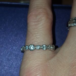 Jewelry - Round CZ Vintage Style Eternity Band Ring 4.75